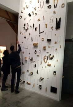 The installation by Stockholm-based jewelry collective A5, Adam Grinovich, Romina Fuentes, and Annika Pettersson. Velvet da Vinci