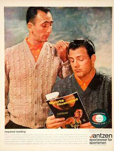 1962 Ad Jantzen Sportswear Mad Men 60s Fashion Frank Gifford Football Bob Cousy