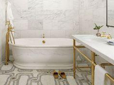 marble walls & mosaic marble tile floor.