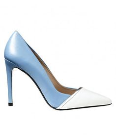 The silver edging on these two-tone leather heels sharpens their sweet steel and powder blues, so you'll feel feminine but not girlish.
