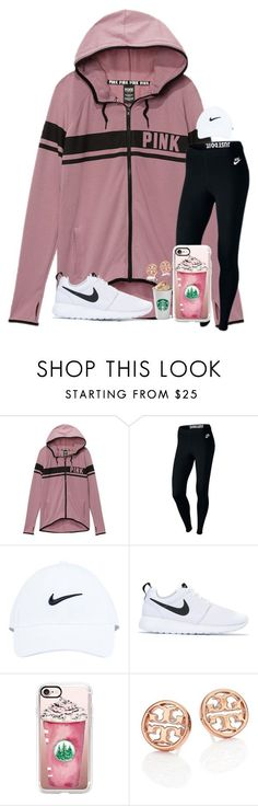 """PSL + lazy day"" by kari-luvs-u-2 ❤ liked on Polyvore featuring Victoria's Secret, NIKE, Casetify and Tory Burch"