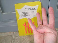 Here's an idea for teaching tally marks. Includes lyrics for a tally mark song.