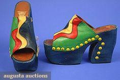 Augusta Auctions vintage shoes: high platform shoes, 1970s    #vintage #shoes #art