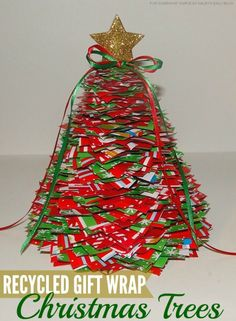 Christmas Craft: Recycled Gift Wrap Trees - Somewhat Simple