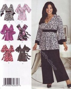 2634 Simplicity Gorgeous Blouses size 26, 28, 30, 32 - 3x 4x 5x Sewing Pattern
