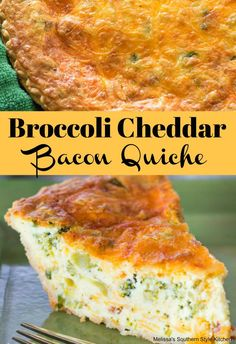 Broccoli Cheddar Bacon Quiche - - yummy and easy. Reminder - T & M don't eat quiche :) Breakfast Dishes, Breakfast Time, Breakfast Recipes, Breakfast Casserole, Breakfast Quiche, Brunch Recipes, Dinner Recipes, Simple Quiche Recipes, Frittata Recipes