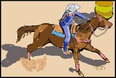 Barrel Racer  by J. F. Jennings  2014 cowgirl, art, digital, illustration