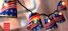 Make your own red white blue Stars & Stripes DIY cup covers for string lights! Gotta be LED for safety; no heat. Cute 4th of July craft, seems simple & looks great for patriotic party decor: http://www.flashingblinkylights.com/sparklingwhiteballledpartylights.html?utm_source=Pinterest&utm_medium=LED%20string%20lights&utm_campaign=Flashing%204th%20of%20July