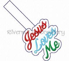 $2.95Jesus Loves Me In The Hoop Snap Tab Key Fob Machine Embroidery Design