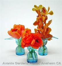 Orange Floral Centerpieces :  wedding centerpieces orange Orange Flowers Aqua Glass