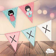 Bandeirolas para festas - painel ou frente de mesa - kit para imprimir. Tema festa Kokeshi - boneca japonesa
