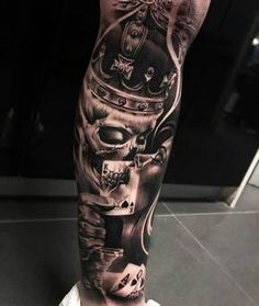 Dope piece by For Features click our bio👈 Forarm Tattoos, Chicano Tattoos, Dope Tattoos, Badass Tattoos, Leg Tattoos, Body Art Tattoos, Tattoos For Guys, Gangster Tattoos, Tattos