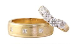 To have and to hold...beautiful diamond wedding bands in 18ct yellow gold.