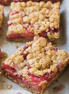 Recette: Carrés fraises/rhubarbe de maman.