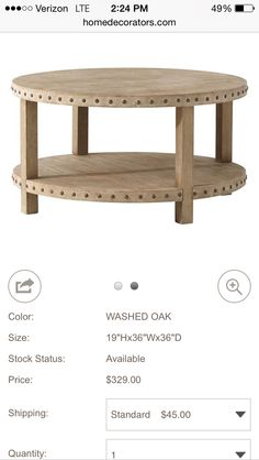 Round Coffee Table With Some Nice Detail