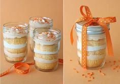 Its Written on the Wall: 29 Recipes for Dessert In A Jar.....Oh Yum!   ORANGE DREAMSICLE CUPCAKES IN A JAR.