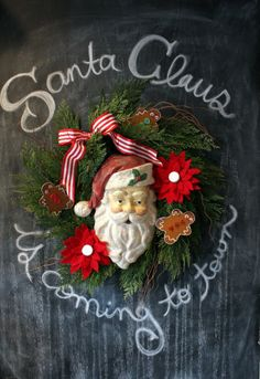 spreading a little Christmas cheer with chalk! Chalkboards are a really easy way to spread holiday cheer. If you don't have a chalkboard, invest in one or just some chalkboard paint to liven up a wall or accessory in your home. Merry Christmas, Country Christmas, Little Christmas, Winter Christmas, Vintage Christmas, Christmas Wreaths, Christmas Crafts, Christmas Decorations, Christmas Trimmings