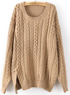 Khaki Long Sleeve Split Cable Knit Sweater US$36.07