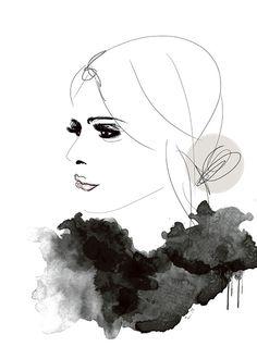 Kunst auf Poster, Fashion. Moderne Frauenillustration.