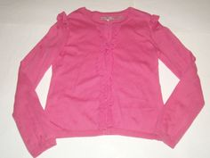Juicy Couture Pink Ruffle Heart Button Long Sleeve Cardigan Sweater Girls 10 EUC #JuicyCouture #Cardigan #DressyEveryday