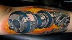 Camshaft Engine Color Arm Tattoo With Roller Rocker Tattoos Body Art Tattoos, Tribal Tattoos, Tatoos, Tattoo Art, Gear Head Tattoo, Tatuagem Hot Rod, Hot Rod Tattoo, Racing Tattoos, Sweet Tattoos