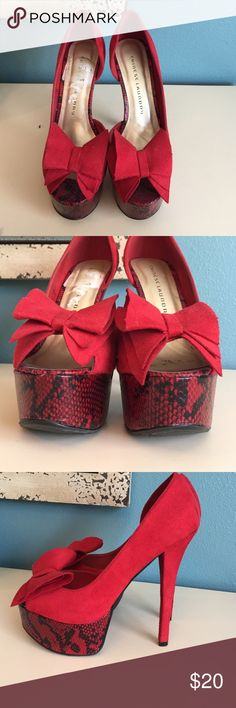 Chinese laundry Red bow heels size 7 Never worn bug have a small black mark on the inside and the sticker is still visible on the bottom Chinese Laundry Shoes Heels