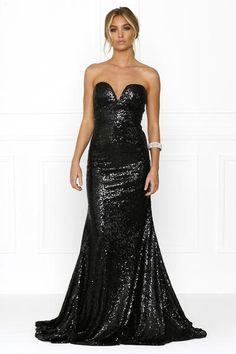 Honey Couture DELTA Black Princess Strapless Bodice Sequin Formal Gown Dress