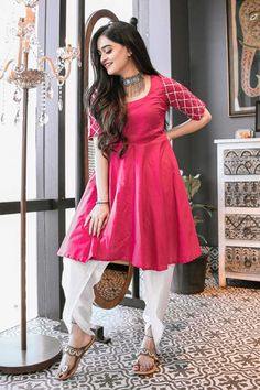 Purple Cotton Kurta and Dhoti Set Party Wear Indian Dresses, Indian Fashion Dresses, Dress Indian Style, Indian Designer Outfits, Designer Dresses, India Fashion, Western Dresses For Girl, Stylish Dresses For Girls, Stylish Dress Designs