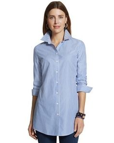 "Our striped, cotton, button-up shirt now comes in a slimming longer length with a sparkly, studded collar. Effortless shirts have been engineered to give an always-pristine, wrinkle-free appearance. Length: 30+"". 100% cotton. Machine wash. Imported."