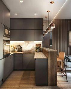Kitchen Room Design, Kitchen Cabinet Design, Modern Kitchen Design, Kitchen Layout, Home Decor Kitchen, Interior Design Kitchen, Kitchen Ideas, Modern Kitchen Cabinets, Interior Plants