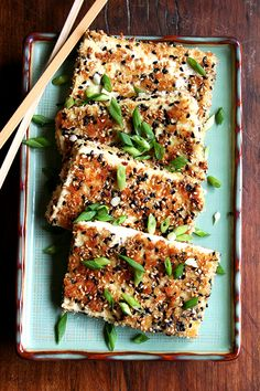 Sesame-Crusted Tofu with Nuoc Cham Sesame crusted tofu sounds like a healthy and tasty way to keep those resolutions.Sesame crusted tofu sounds like a healthy and tasty way to keep those resolutions. Fodmap Recipes, Tofu Recipes, Asian Recipes, Whole Food Recipes, Vegetarian Recipes, Dinner Recipes, Cooking Recipes, Healthy Recipes, Healthy Meals