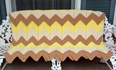 Hand Crochet Afghan - Yellow, White,  Brown - Warm, Home Decor, Large - Vintage - Fabulous! by YPSA on Etsy