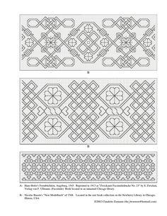 More 16th century blackwork patterns here: http://www.mybookezz.org/ebook.php?u=aHR0cDovL2dlcm1hbnJlbmFpc3NhbmNlLm5ldC93cC1jb250ZW50L3VwbG9hZHMvMjAxMi8wNS9nZXJtYW5ibGFja3dvcmsucGRmCjE2IGMuIEdlcm1hbiBCbGFja3dvcmsgUGF0dGVybnMgLSBUaGUgR2VybWFuIFJlbmFpc3NhbmNlIG9mIC4uLg==
