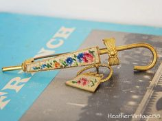 Vintage Petit Point Umbrella Brooch by HeatherVintage88 on Etsy, $45.00