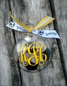 Soccer Ball Monogram Luggage Tag Back Pack Tag Key Chain Acrylic Chevron Key Tag -- Free Shipping
