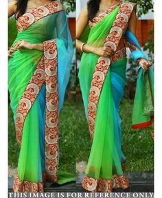 2925b34e8fe buy saree online Designer Inspired Green and Sky Blue Colour Nylone Net  Saree…