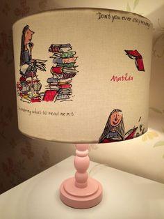 Items similar to Handmade Quentin Blake illustrated Roald Dahls 'Matilda' lampshade drum shade. on Etsy Book Themed Nursery, Storybook Nursery, Nursery Book, Girl Nursery, Project Nursery, Bedroom Themes, Nursery Themes, Kids Bedroom, Nursery Decor