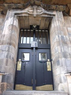 Glasgow School of Art doorway, designed by Charles Rennie Mackintosh.
