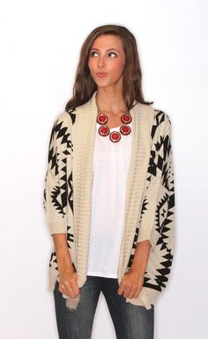 open aztec cardigan � cream