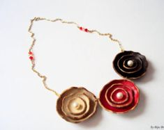 Leather necklace, Gold plated, Floral necklace, chocolate brown, cherry red, Nature jewelry, trio, everyday necklace, romantic,layered,cream