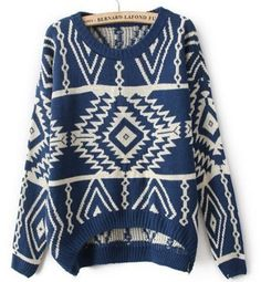 Hoodies, Sweatshirts Women , Girl: Fashion Geometry Design Printed Knitted Sweater Women's Loose Pullovers Casual Wear Plus : Blue by ps.easyshop, http://www.amazon.com/dp/B00F99HIVQ/ref=cm_sw_r_pi_dp_btRFsb1GB18QJ