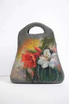 Felted bag purse shoulderbag with wool paint pcture. by Renefelt, $175.00