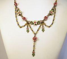 Vintage Enamel Rhinestone Floral Necklace Art by GretelsTreasures