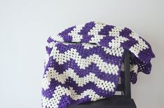 39 x 50  Purple and cream striped  zig-zag chevron by NesrinArt
