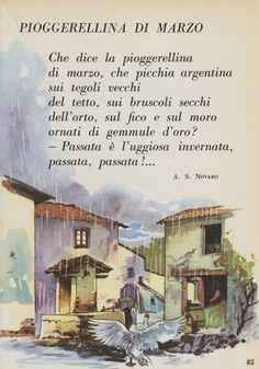 Testo della poesia: pioggerellina di Marzo di Angiolo Silvio Novaro. Versi iniziali: Che dice la pioggerellina di marzo, che picchia argentina sui tegoli...
