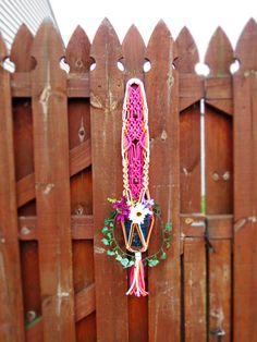 "Macrame plant hanger, 34"", hanging planter, pot holder, plant holder, hanging basket, pot hanger, macrame pot holder, macrame art, pink, small, short, mothers day gifts, flower hanger"