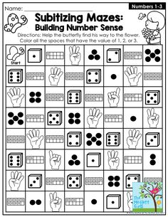 "Subitizing Mazes for Spring! They help students build number recognition, setting the foundation for more challenging math skills. Subitizing is the ability to ""instantly see"" how many. Preschool Math, Math Classroom, Kindergarten Math, Teaching Math, 1st Grade Math Games, Math Math, Math Skills, Math Lessons, Math Tips"