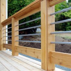 Top 50 Best Metal Deck Railing Ideas - Backyard Designs From polished stainless steel to glass, and black powder coated aluminum, discover the top 50 best metal deck railing ideas. Metal Deck Railing, Horizontal Deck Railing, Deck Railing Design, Patio Deck Designs, Railings For Decks, Deck Railing Ideas Diy, How To Build Porch Railing, Decking Handrail, Deck Balustrade Ideas