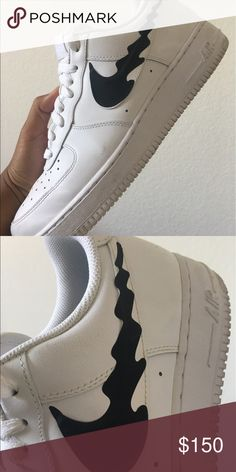 CUSTOM NIKE WHITE BLACK AIR FORCE ONE MENS WOMENS Custom made to order. Buyer will RECEIVE ITEM IN 10 DAYS. Why 10 days? Because there is a line of orders that has to be done so please have patience. Nike Shoes Sneakers