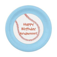 Happy Birthday Personalized Baseball Plates  sc 1 st  Pinterest & Happy Birthday Personalized Baseball Paper Plate | Birthdays